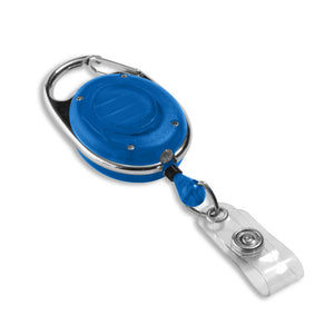 Blue carabiner badge reel with LED flashlight front