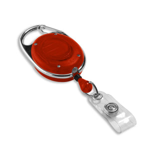 Red carabiner badge reel with LED flashlight front