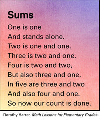 Sums Poem Waldorf Math Lessons for Elementary Grades