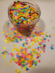 Neon Lego shaped glitter