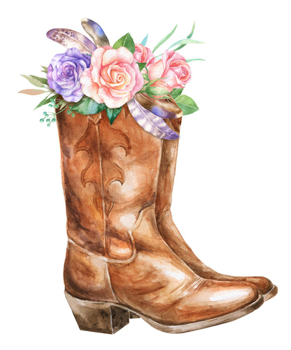 Boots and flowers decal Adhesive Vinyl