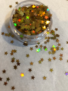 Holographic tiny gold star shapes