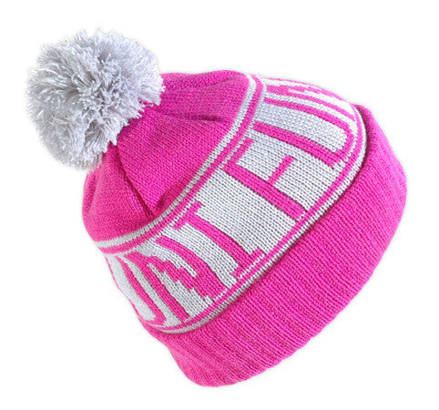 Old school knitted Funi beanie with pompom in pink