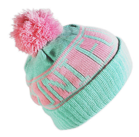cheap knitted mint coloured bobble hat