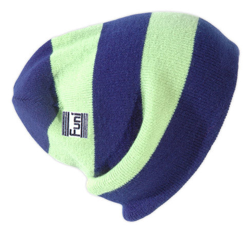 cheap stripy football coloured reversible beanie