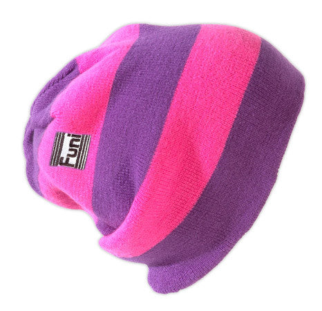 knitted reversible pink beanie