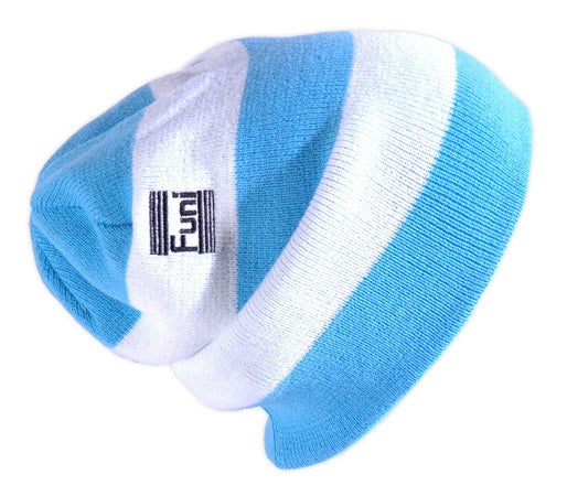 knitted turquoise and white beanie smurf hat