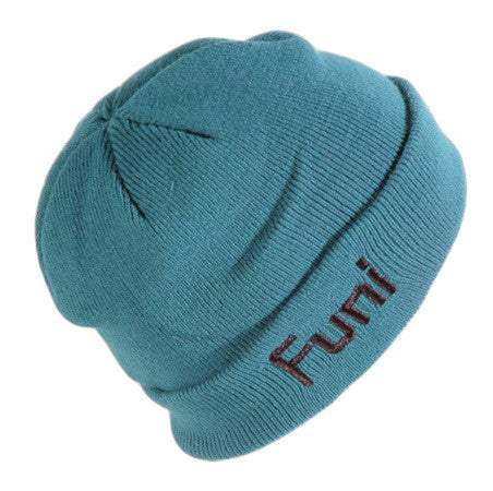 teal green knitted fisherman style beanie hat