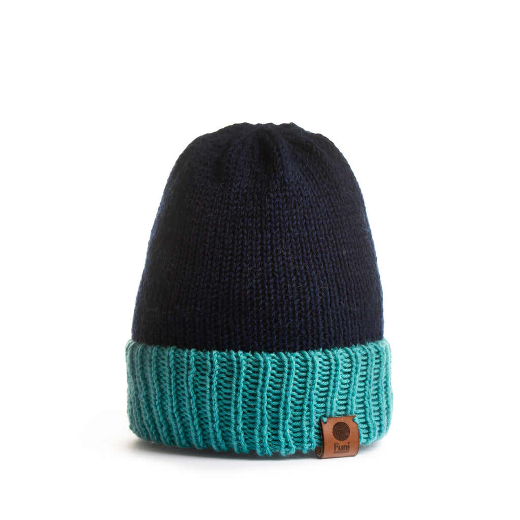 navy hand made merino beanie