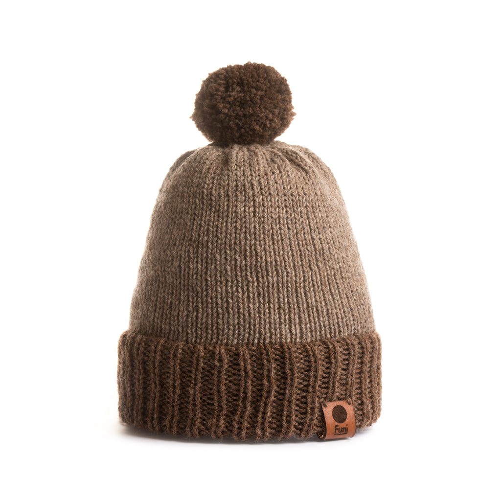 hand made brown knitted bobble hat with british wool