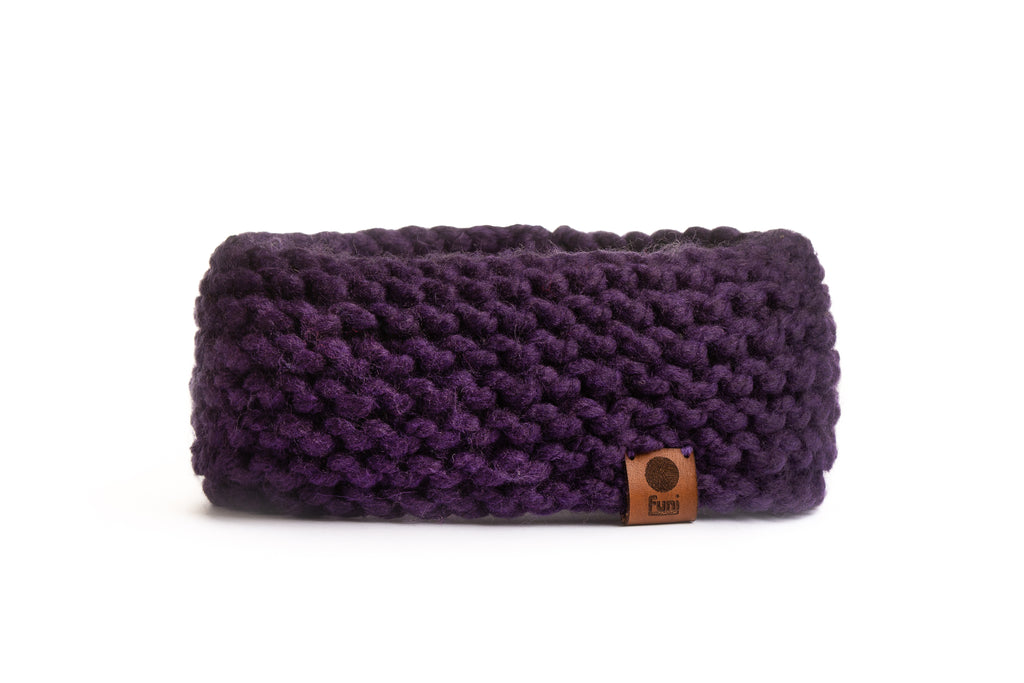 chunky thick hand knitted headband purple
