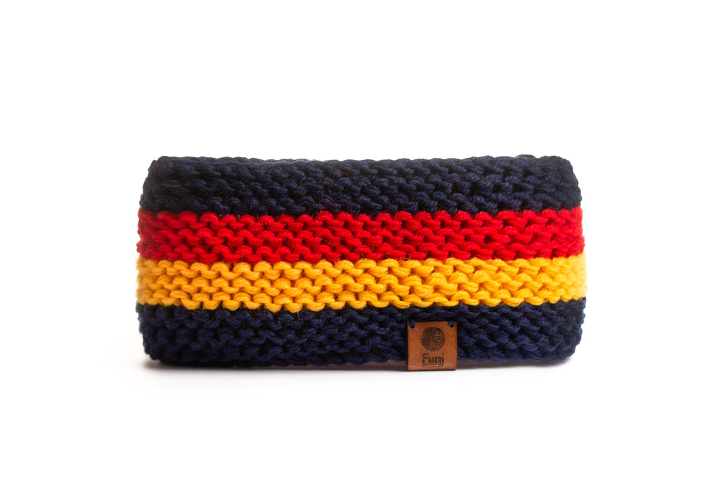 Stripy knitted headband wool