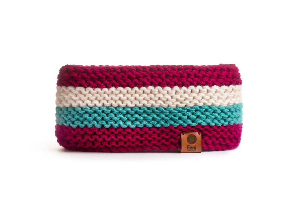 custom knitted stripy headband