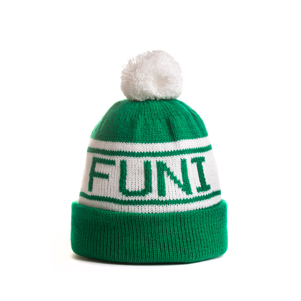 green and white knitted turn up bobble hat beanie