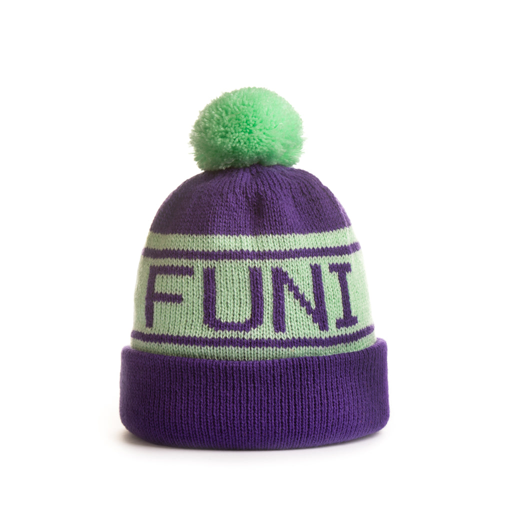 turn up bobble hat in green and purple