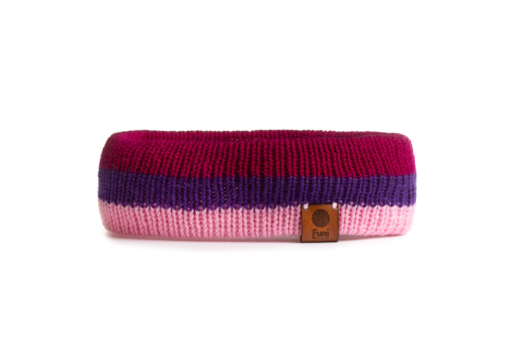 running headband in pink merino wool