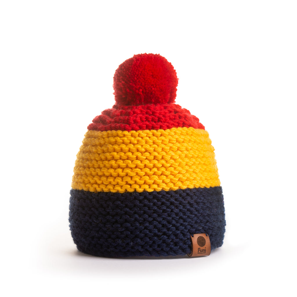 block coloured chunky knitted beanie with pompom