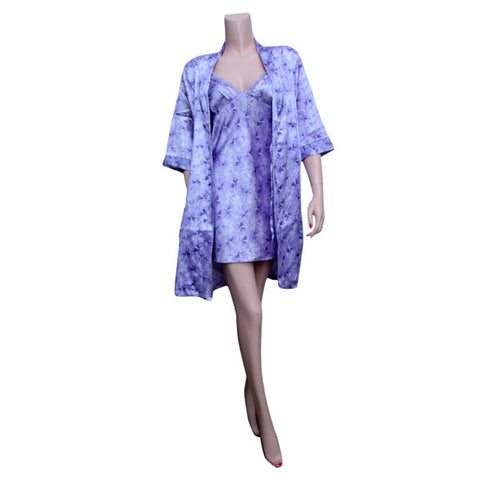 Light Purple Silk Chemise with Blue and White Flowers
