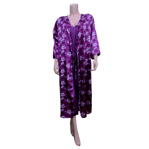 Purple Silk Chemise with Purple Flowers