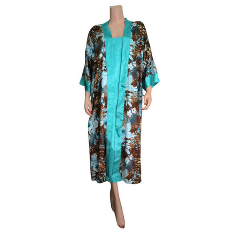 Turquoise Silk Chemise with Large Flowers