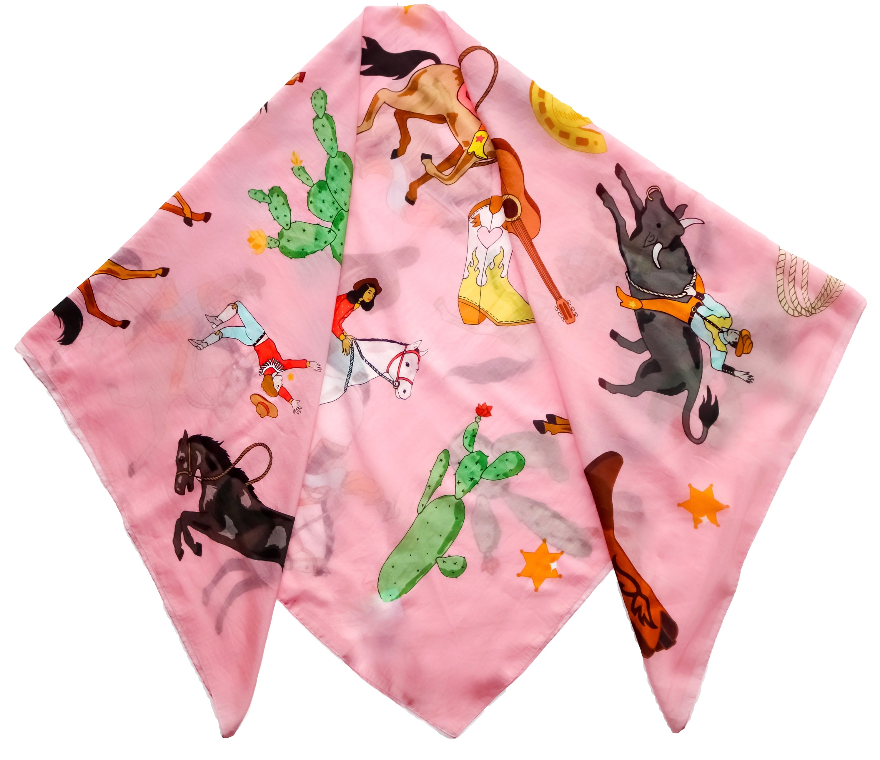 RODEO PRINT COTTON SILK SCARF - PINK