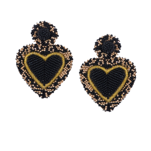 OLIVIA DAR - Alghero Earrings - Black/Gold