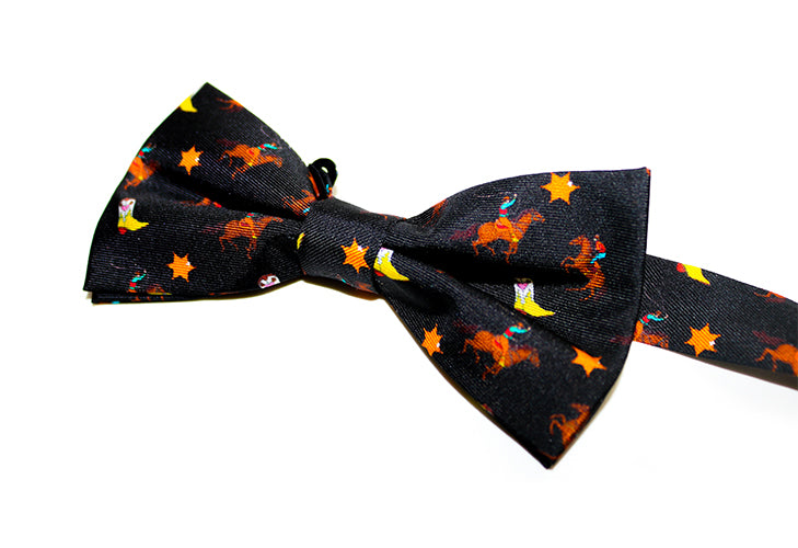 RODEO PRINT BOW TIE - BLACK