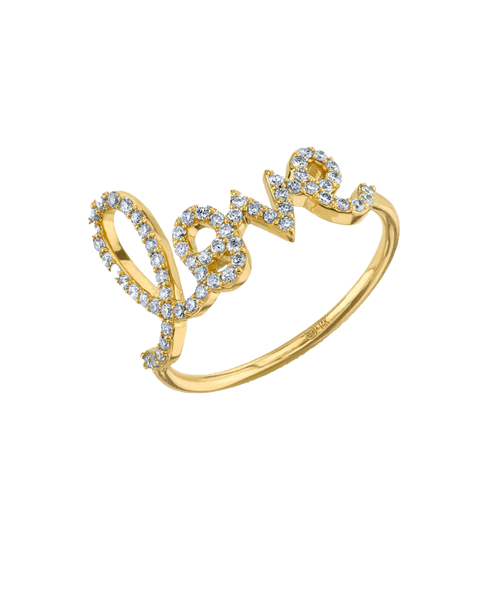 SYDNEY EVAN - 14K Gold Pave Diamond Love Ring