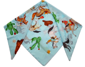 RODEO PRINT COTTON SILK SCARF - BLUE