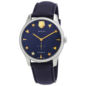 GUCCI G - Timeless Stainless Steel Case 40MM - Automatic Blue Guilloché Dial Blue Leather Watch - YA126347