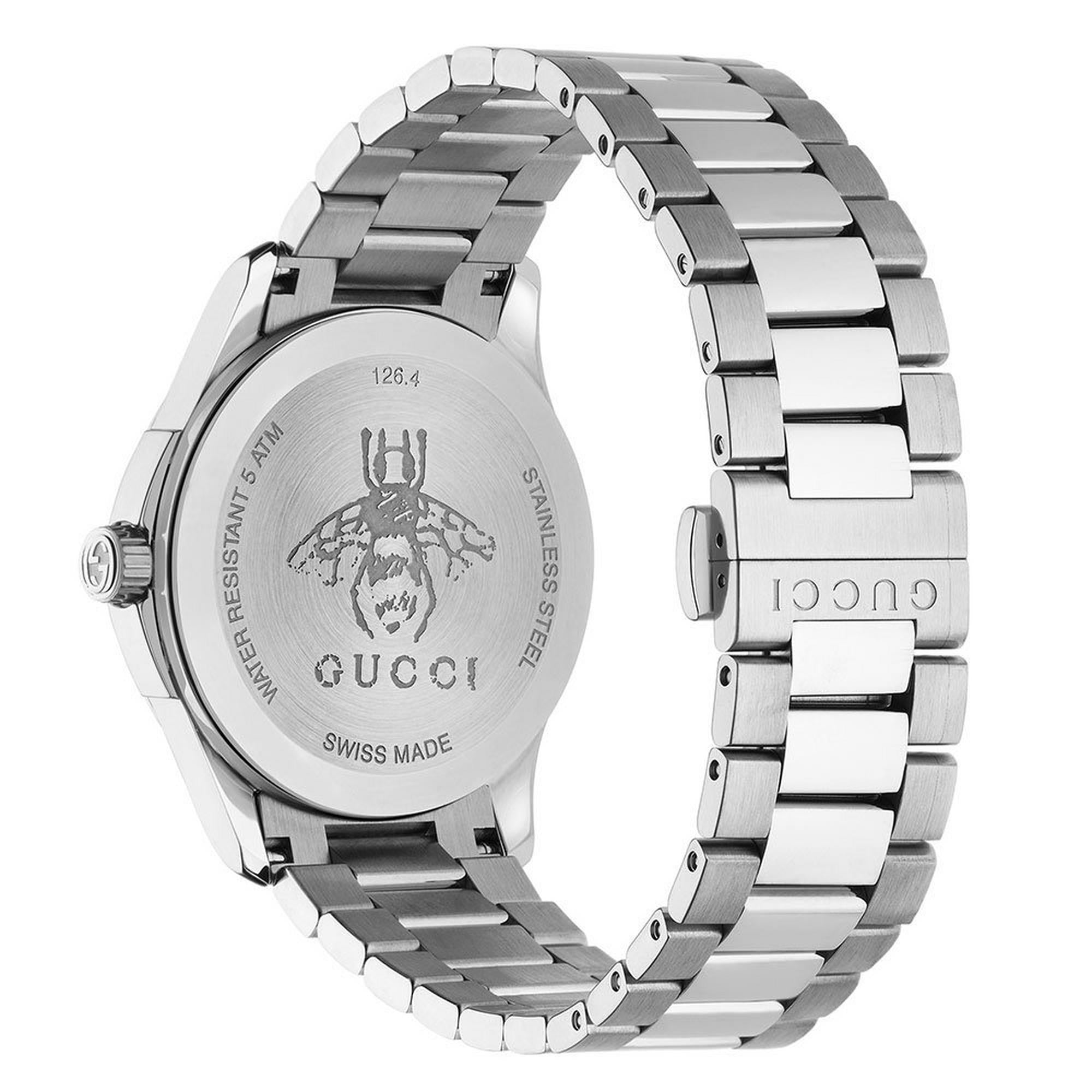 GUCCI G - Timeless Guilloche Quartz Stainless Steel Black Dial Watch - YA1264029A