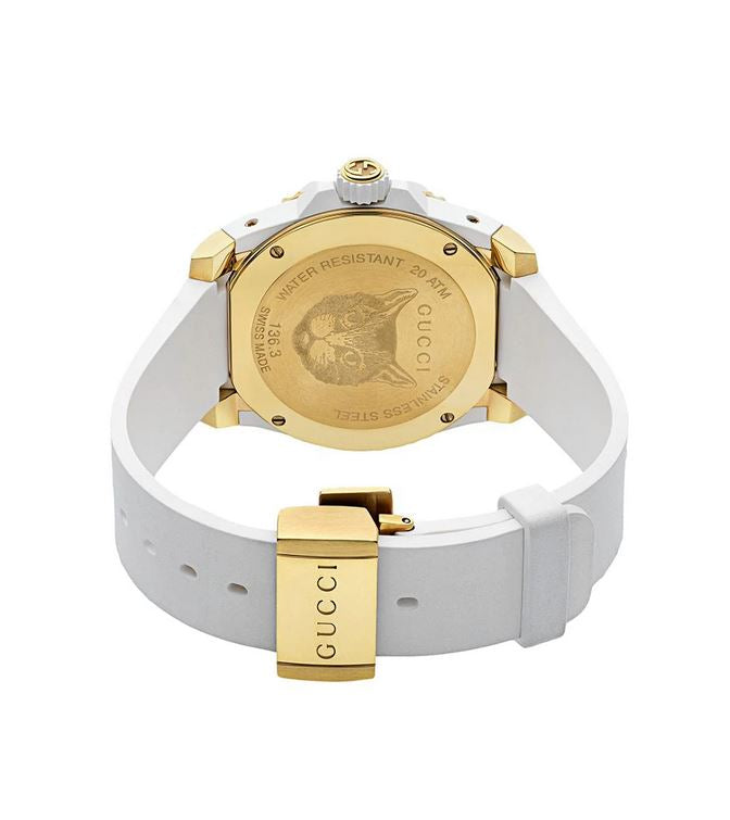 GUCCI - White Rubber Gucci Dive Watch, 40mm - YA136322