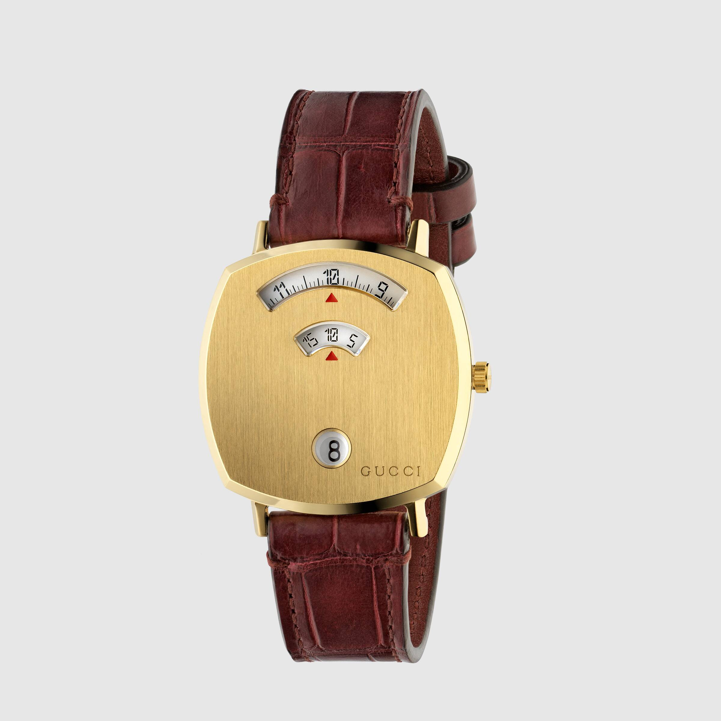 GUCCI - BORDEAUX ALLIGATOR GRIP WATCH 35mm - YA157402