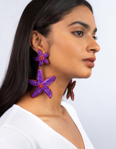 OLIVIA DAR - Maxi Starfish Earrings - Purple