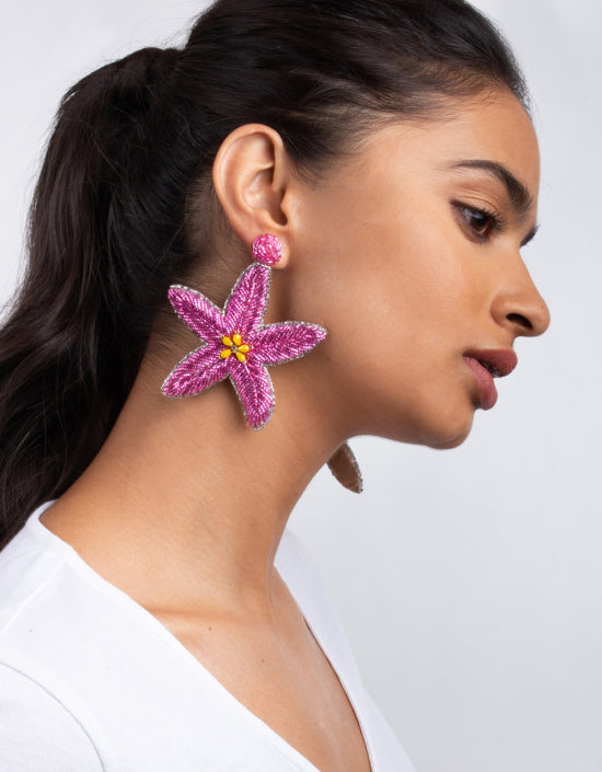 OLIVIA DAR - Medium Starfish Earrings - Pink