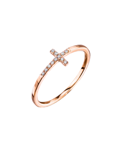 SYDNEY EVAN - Bent Cross Pave Diamond Cross Ring