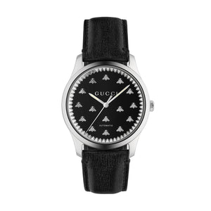GUCCI G - Timeless Automatic - Black Onyx Stone Dial - Leather Strap - YA126286