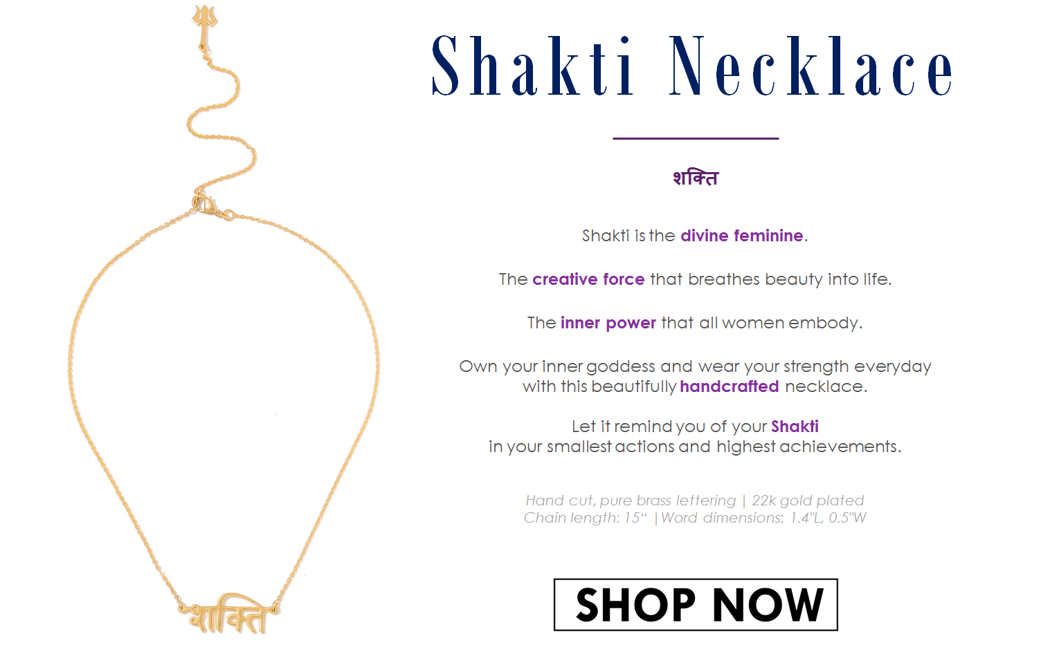 Shakti Necklace - Jewellery Handcrafted in India - Designed by Parvati Villa, Lifestyle Boutique in Bombay, India
