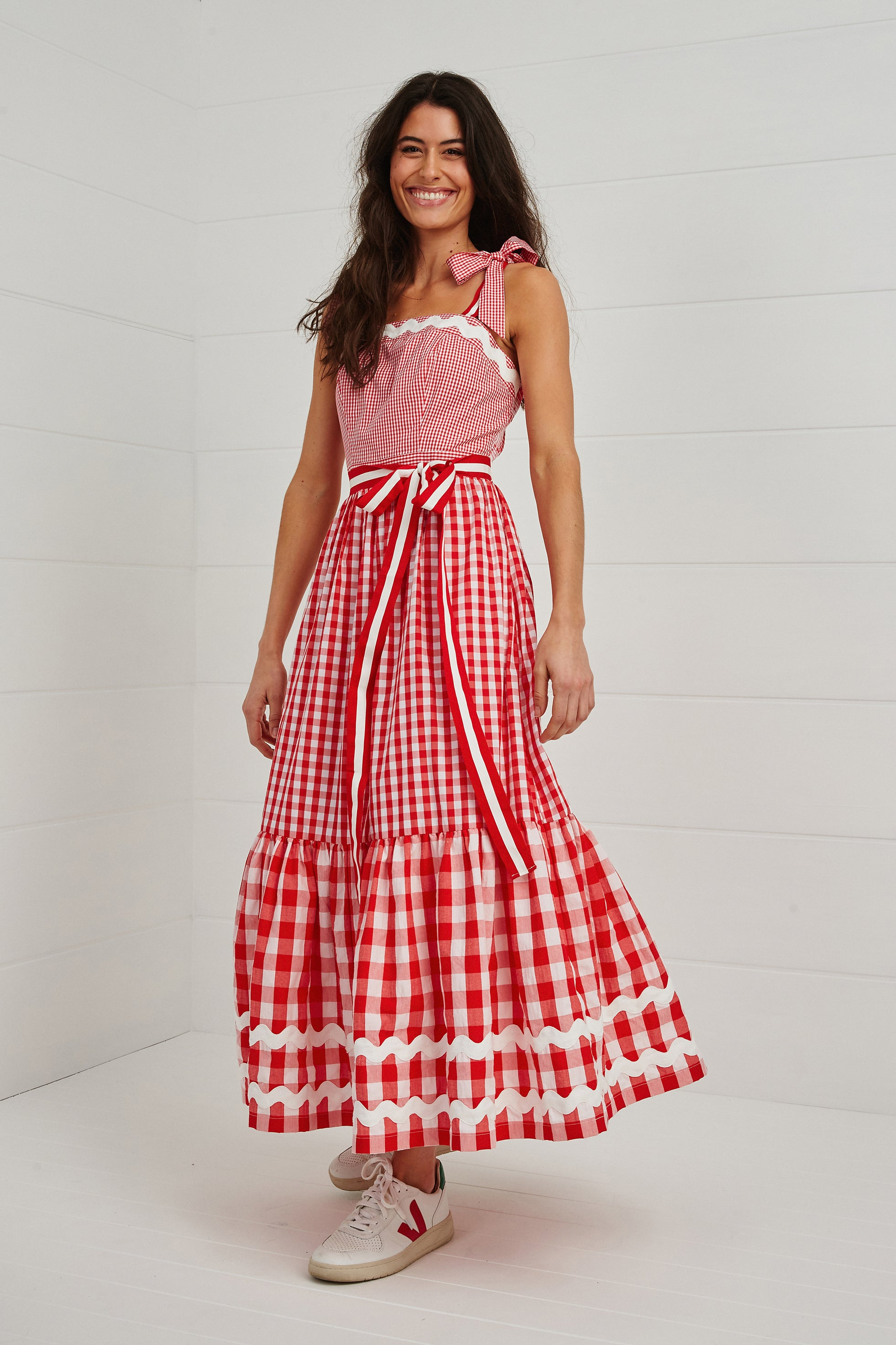 'THE JINGLE GINGLE' RUFFLE MAXI DRESS