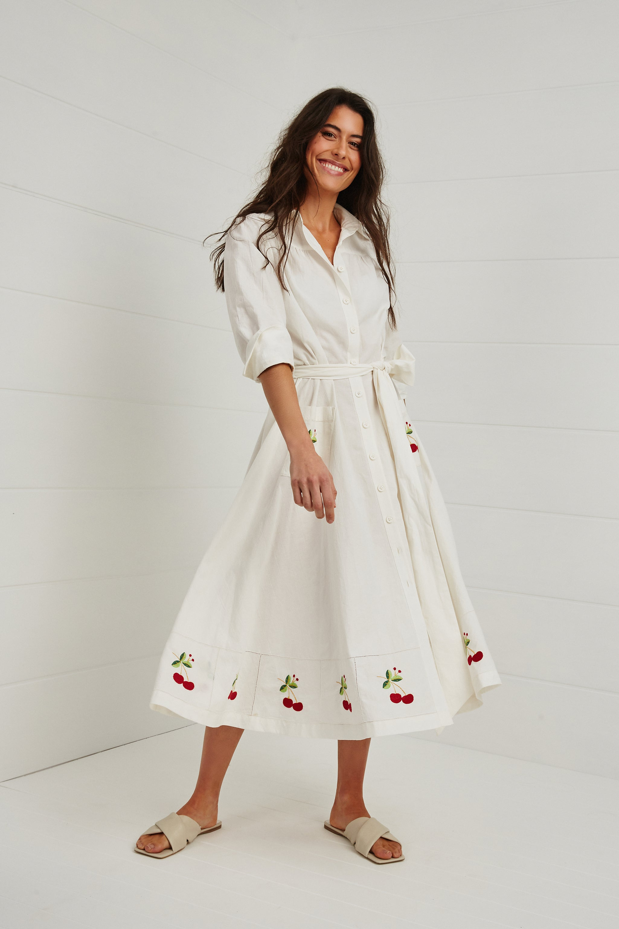 'A CHERRY CHERRY CHRISTMAS' SHIRT DRESS