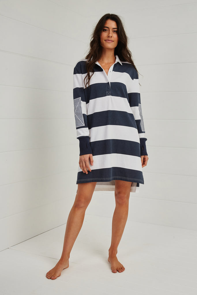 FOR LOVE OR MONEY RUGBY DRESS NAVY.
