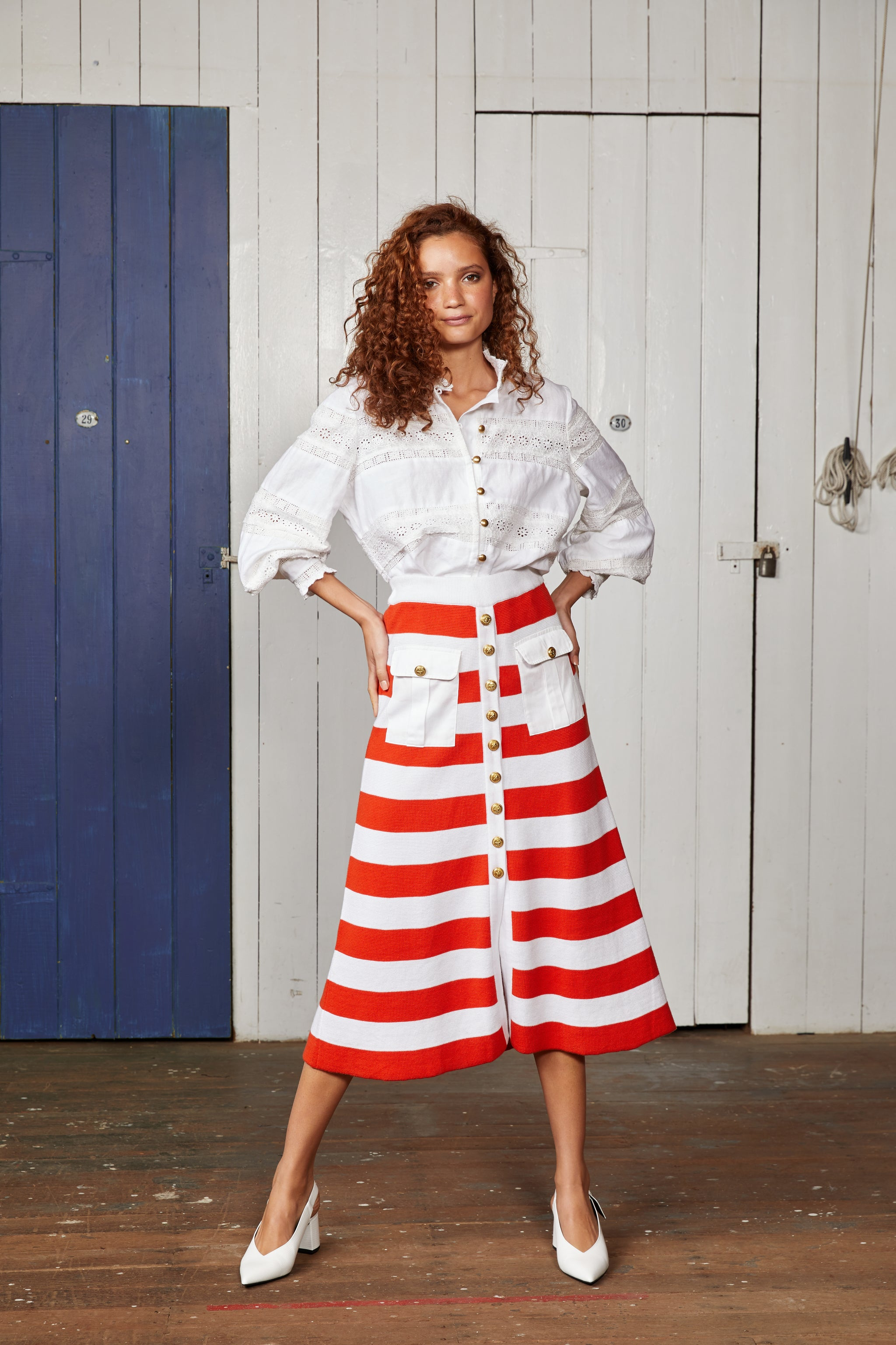 Binny Ketch Knit Button Through Midi Skirt with Red and White Stripes and Pockets