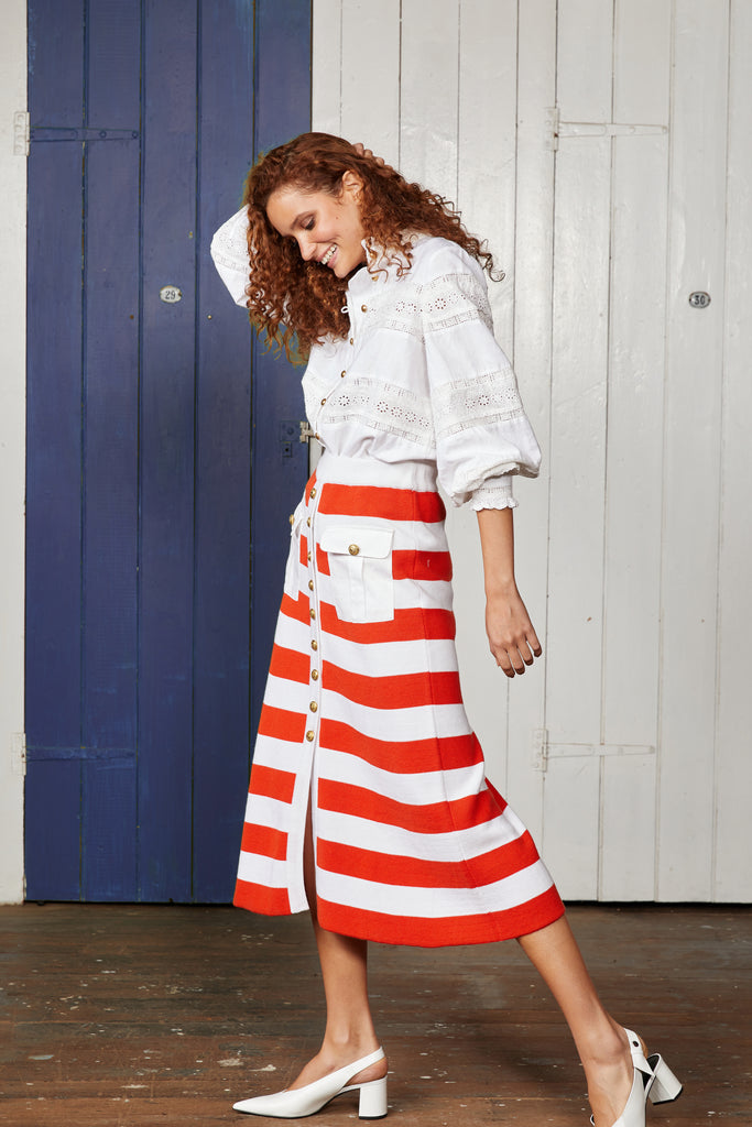 KETCH KNIT MIDI SKIRT.