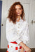 White Linen Lace Panelled Long Sleeved Shirt