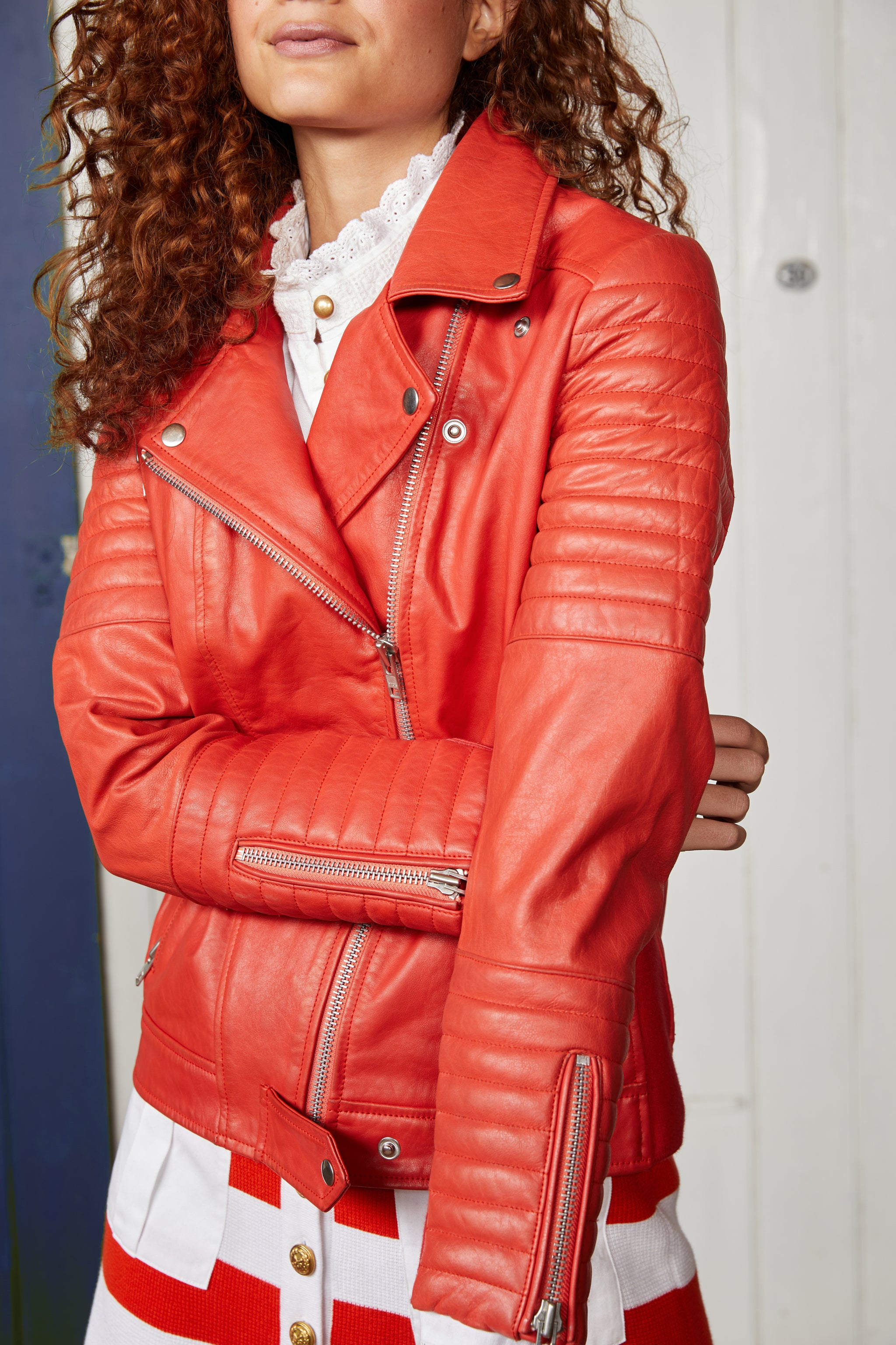 Binny Red Bermuda Rig Leather Jacket with Quilted Panel Detail