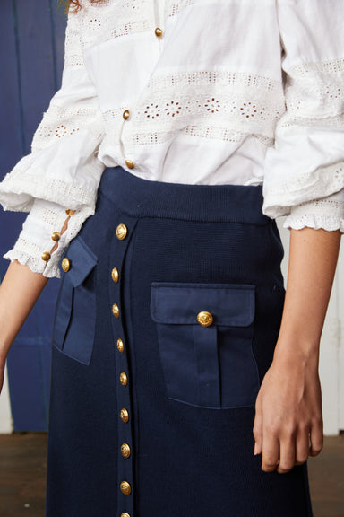 Binny Ketch Knit Button Through Midi Skirt with Pockets in Navy Blue