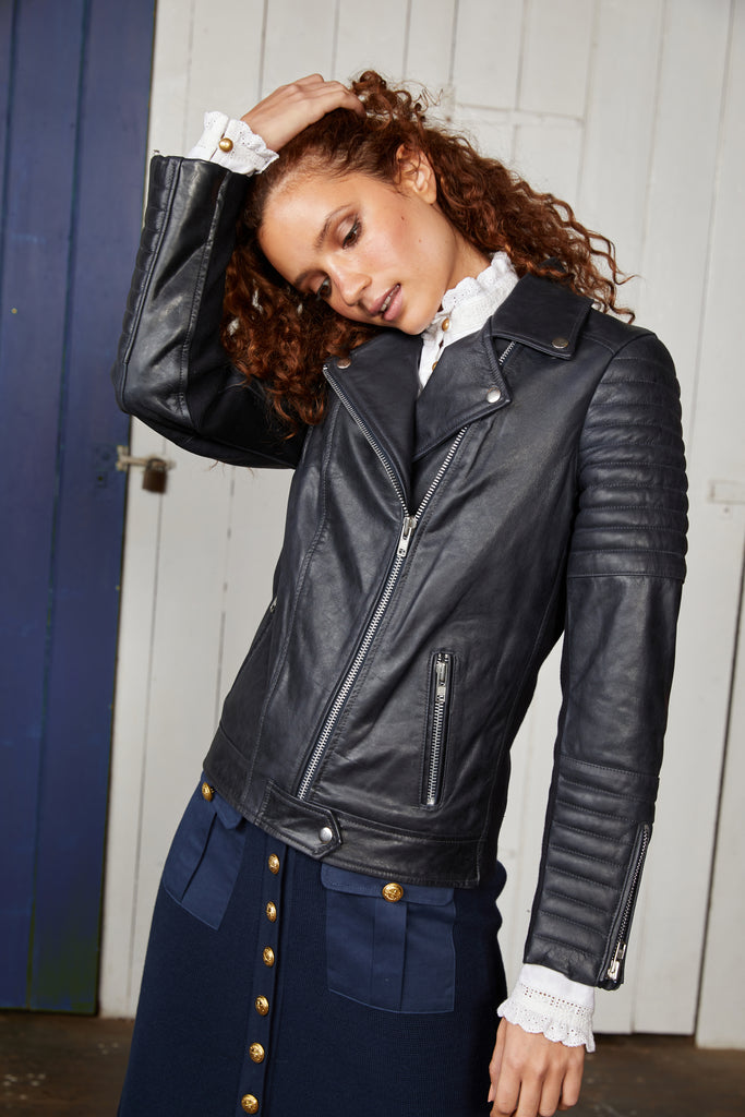 Binny Black Bermuda Rig Leather Jacket with Quilted Panel Detail