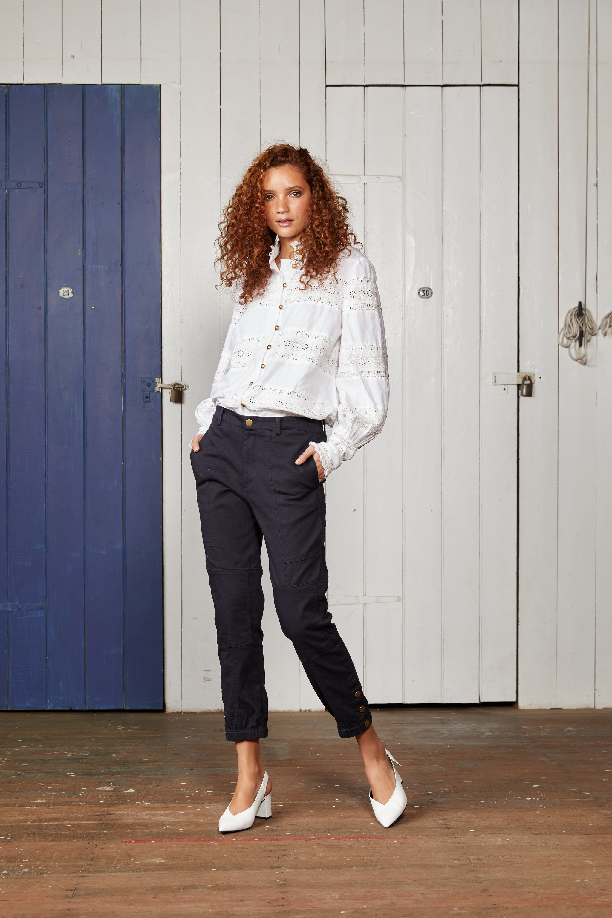 Navy Blue Cotton Stretch Twill Relaxed Pant