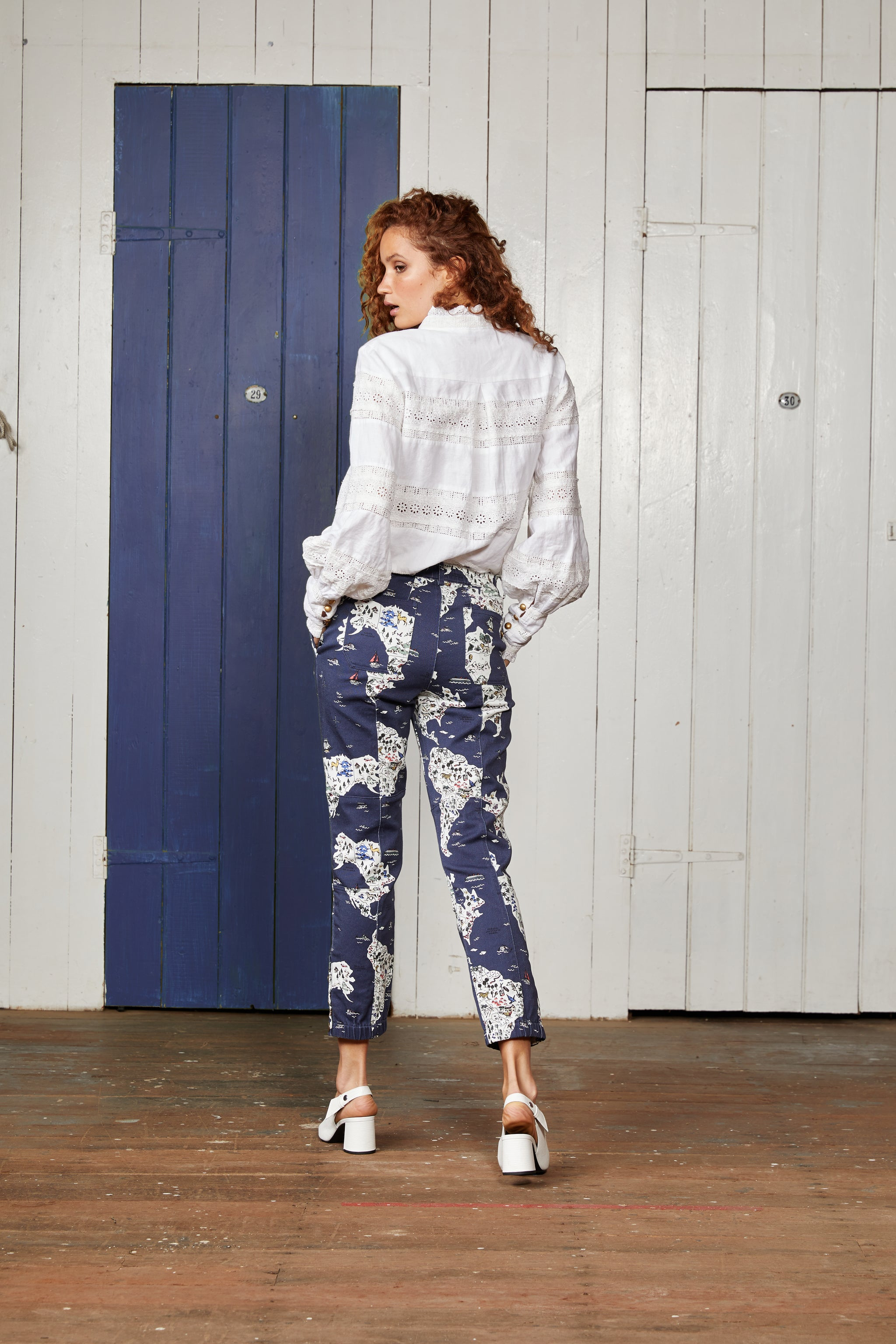 Navy Blue Cotton Stretch Twill Relaxed Pant with Map Print