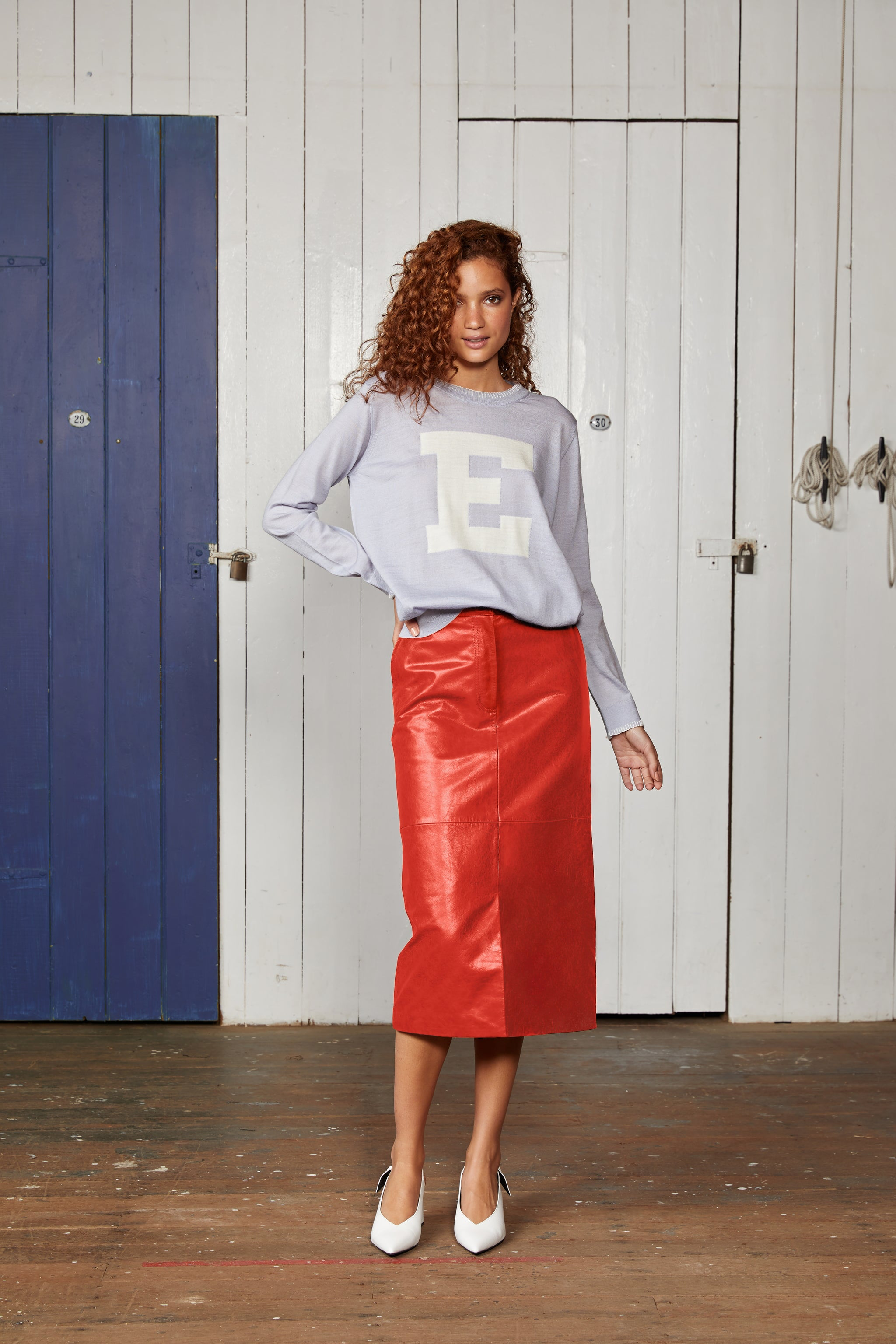 Binny Red Cutters Pencil Leather Midi Skirt with Pockets, Elastic Back and Centre Front Split